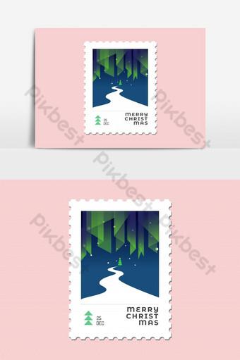 Aurora light avec arbre de Noël et route design plat de timbre de Noël pour carte de voeux Éléments graphiques Modèle EPS
