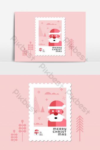 Père Noël en design plat de timbre de Noël ton rouge pour carte de voeux et multi-usages Éléments graphiques Modèle EPS