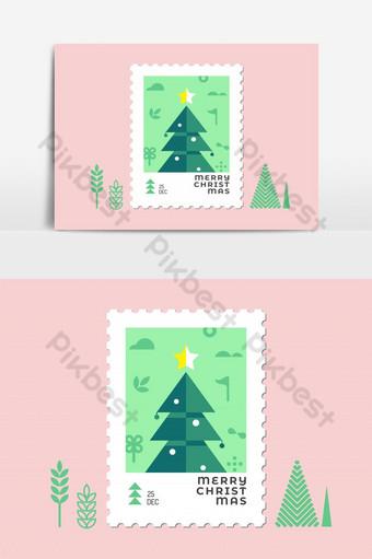 Conception plate de timbre de Noël arbre de Noël pour carte de voeux et vecteur Éléments graphiques Modèle EPS
