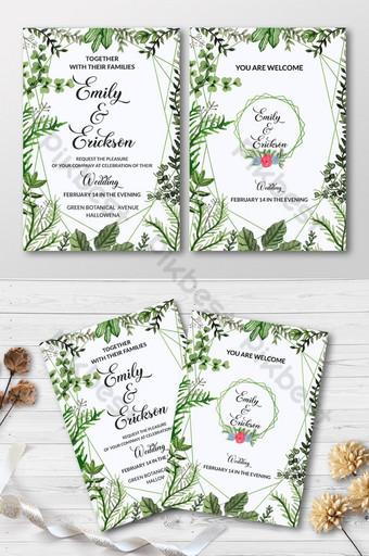 Modèle de conception de carte d'invitation de mariage aquarelle floral Modèle EPS