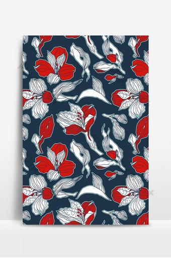 Patrón transparente floral azul oscuro y rojo con flores y brotes de alstroemeria altamente detallados Fondos Modelo EPS