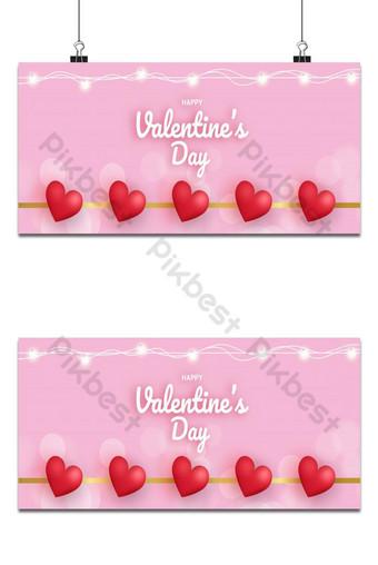 Banner de venta de San Valentín con corazón Fondos Modelo EPS