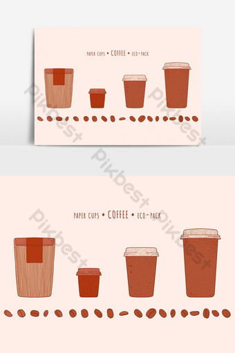 espresso and americano and latte paper cups and pack and coffeeee beans in the hand-drawn te PNG Images Template EPS