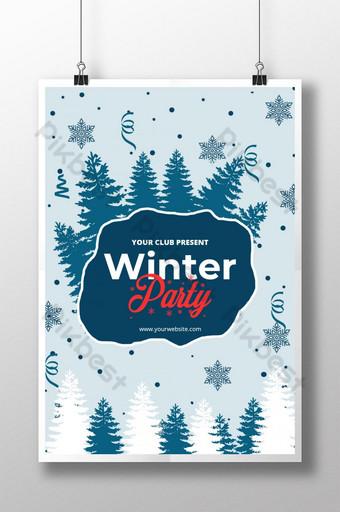 Modèle de conception de disposition d'affiche de fête d'hiver Modèle PSD