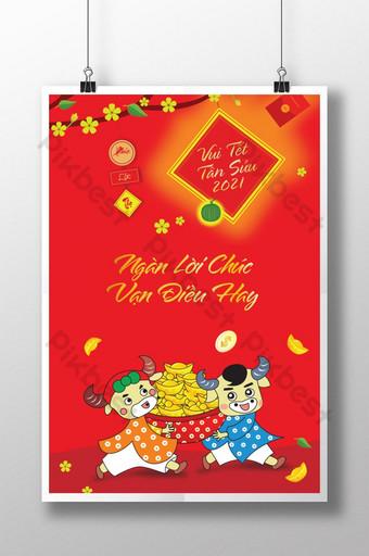 tahun baru lunar vietnam dengan poster kartun kerbau Templat AI