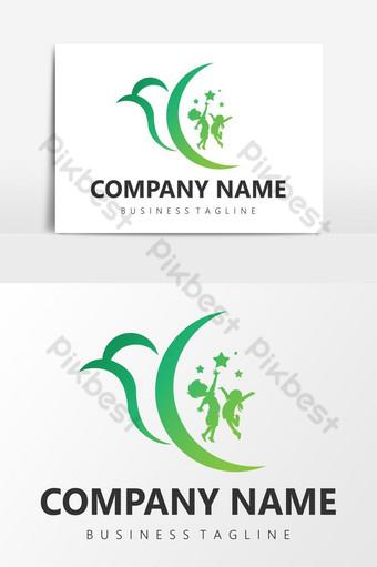Logotipo de la caridad de los niños del pájaro Elementos graficos Modelo EPS