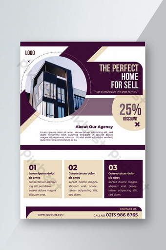 Home for sell real estate promotional flyer template Template PSD