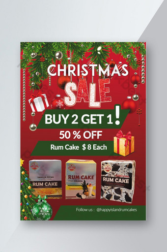 Modèle de Flyer de vente de Noël idées élégantes de couleur rouge Modèle PSD