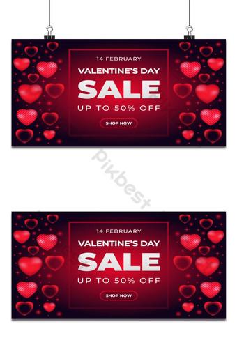 Fondo de banner de venta de día de san valentín realista con corazón Fondos Modelo AI