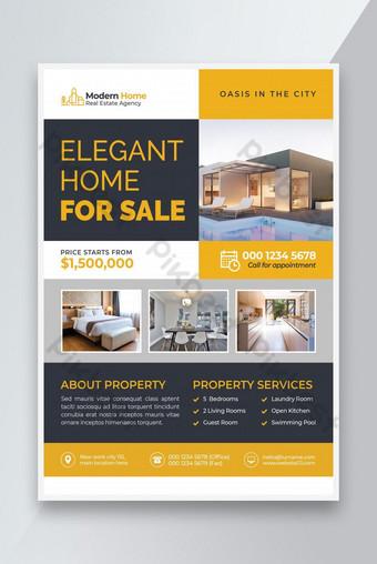maison élégante à vendre modèles de flyers immobiliers Modèle PSD