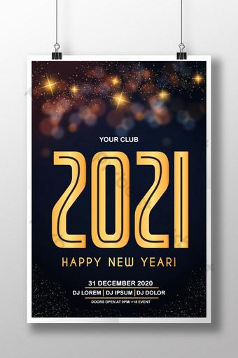 Plantilla de diseño de cartel de feliz año nuevo 2021 ai Modelo AI