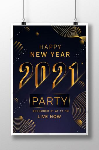 Templat desain poster pesta tahun baru 2021 Templat EPS