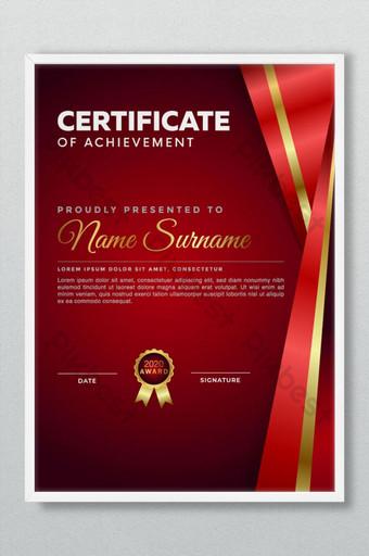 Hermosa plantilla psd de certificado de logros Modelo AI