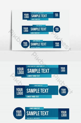 Lower third tv blue design template modern contemporary. Set of banners bar screen PNG Images Template AI