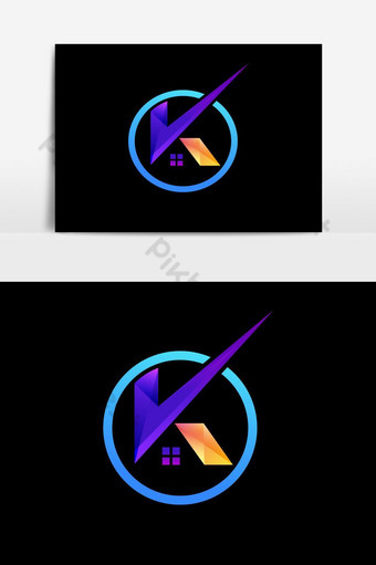 أول حرف ك شعار مع رمز المنزل صور PNG قالب AI