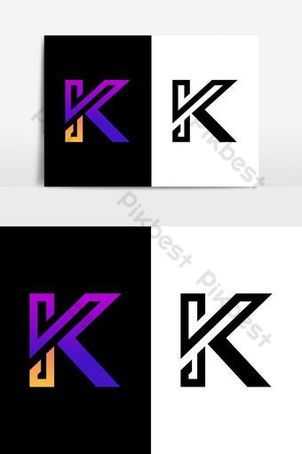 Símbolo de icono de monograma de moda inicial y minimalista K Logo K letra Elementos graficos Modelo AI