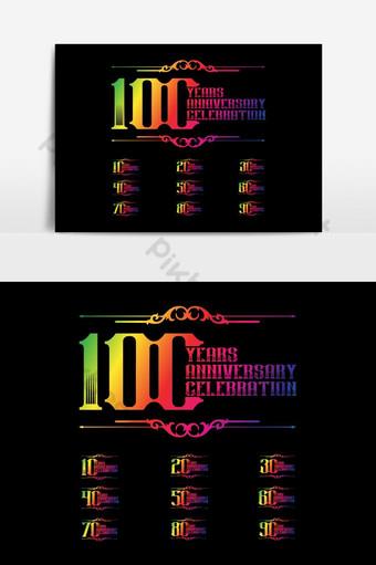 Plantilla de logotipo de aniversario Diseño vectorial celebración de cumpleaños Emblema de aniversario dorado Elementos graficos Modelo AI