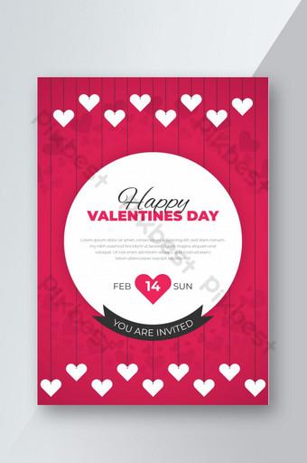 Carte d'invitation Saint Valentin et modèle de conception de flyer de fête avec motif en forme de coeur Modèle AI
