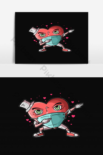 vector de ilustración de amor dabbing de corazón Elementos graficos Modelo EPS
