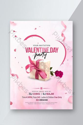 발렌타인 데이 파티 psd 전단지 템플릿 PSD
