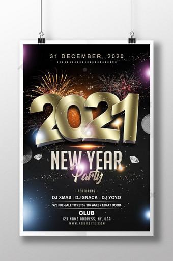 2021 selamat tahun baru template psd poster hitam dan emas Templat PSD