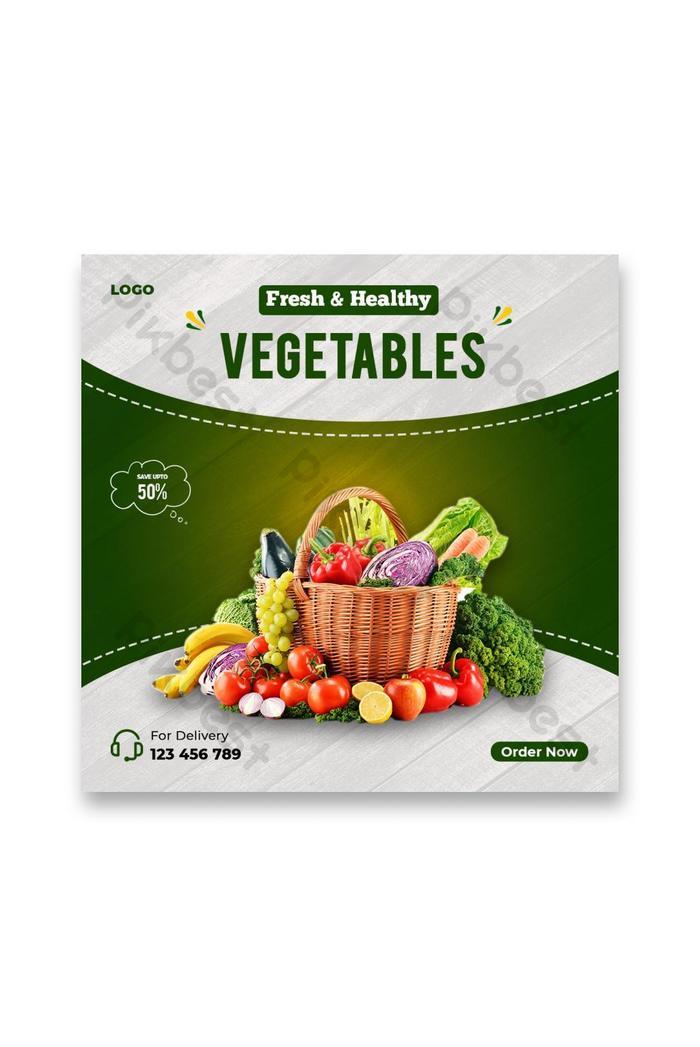 fresh healthy vegetables sale banner social media post template