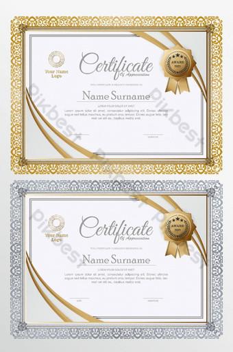 Forma dorada creativa con diseño de certificado de placa. Modelo AI