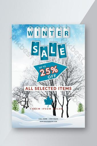 Modèle de Flyer élégant de l'offre de vente d'hiver de couleur blanche et de ciel de conception innovante Modèle PSD