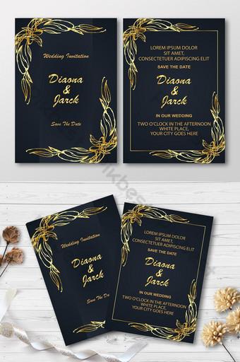 Diseño de tarjeta de invitación de boda de lujo estilo floral dorado y negro Modelo AI
