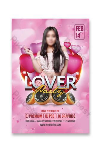 Modèle de Flyer de fête des amoureux de la saint-valentin Modèle PSD