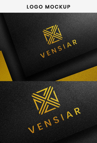 Maqueta de logotipo de lujo en papel negro Plantilla de maqueta de logotipo 3D realista Modelo PSD