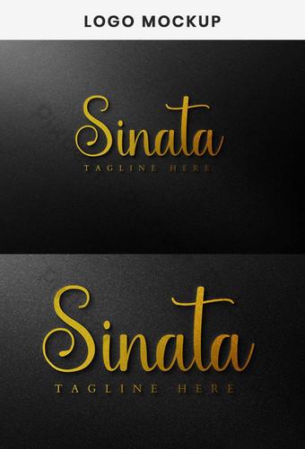 Maqueta de logo dorado de Sonata Plantilla de maqueta de logo 3D realista Modelo PSD