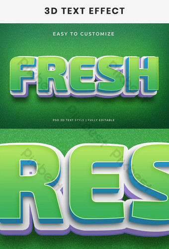 Fresh 3d text effect generator and text style effect Template PSD