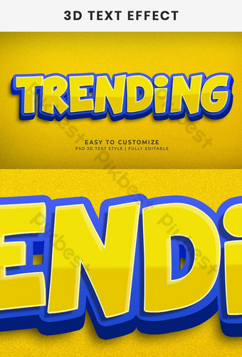 Trending 3d text effect generator and text style effect Template PSD