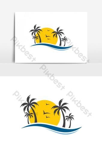 Logotipo de playa tropical único, moderno y simple El símbolo en sí se verá bien como una red social Elementos graficos Modelo AI