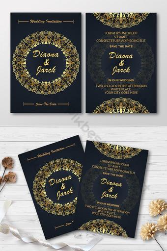 قالب تصميم بطاقة دعوة الزفاف الفاخرة مع خلفية ماندالا الذهبية قالب AI