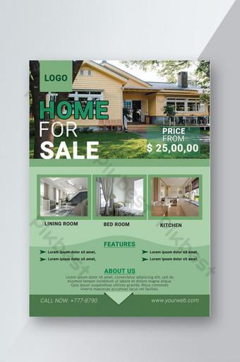 Modèle de Flyer de vente de biens immobiliers de couleur verte Modèle PSD