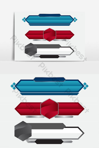 Lower third blue , red and grey design tv template modern contemporary. Set of banners bar PNG Images Template AI