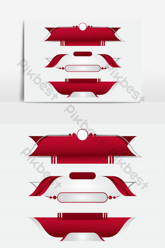 Lower third tv red design template modern contemporary. Set of banners bar screen PNG Images Template AI