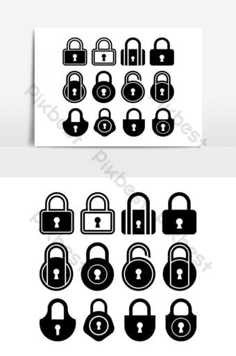 Icono de bloqueo Logotipo de seguridad para dispositivos móviles y web Ilustración de vector de símbolo de signo de logotipo de bloqueo UI Modelo AI
