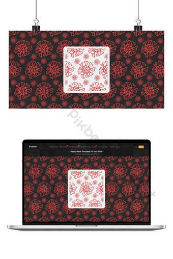 Covid-19 coronavirus hand-drawn seamless vector pattern background design Backgrounds Template EPS