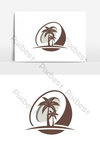 شجرة جوز الهند تصميم شعار منتج الطبيعة شعار زيت جوز الهند صور PNG قالب AI