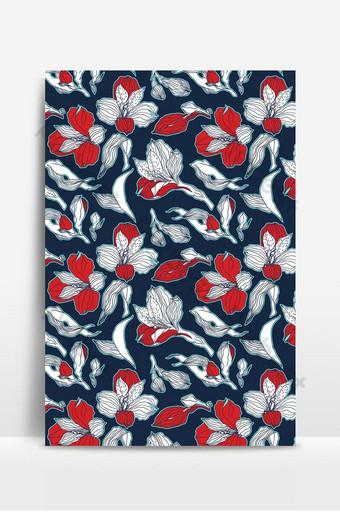 Flores y brotes de alstroemeria rojo blanco de patrones sin fisuras florales azul oscuro Fondos Modelo EPS