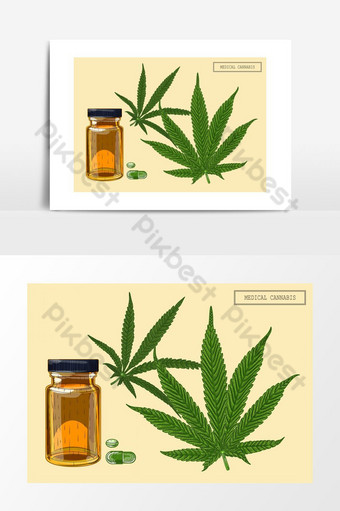 Medical cannabis marijuana two leaves and vial, hand-drawn illustration in a retro style PNG Images Template EPS