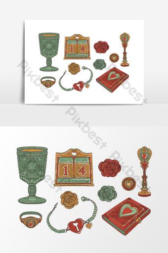 Magic of Vintage Love conjunto de objetos decorativos en tendencia de la vieja escuela dibujado a mano Elementos graficos Modelo EPS