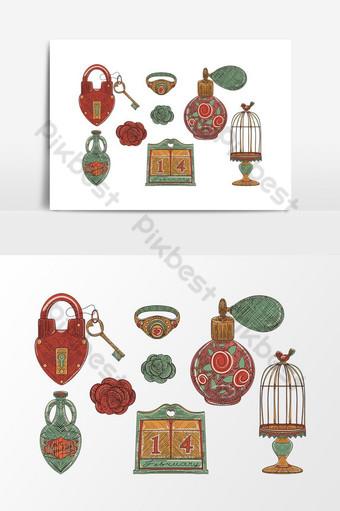 Perfume de Vintage Love conjunto de objeto decorativo en tendencia de la vieja escuela dibujado a mano Elementos graficos Modelo EPS
