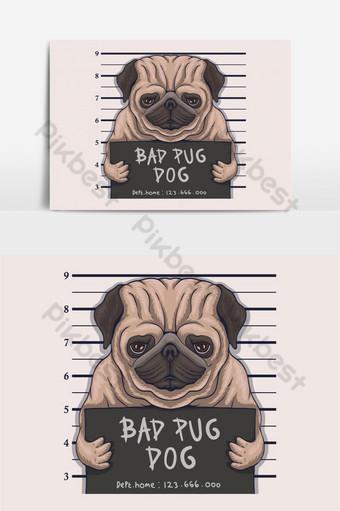 Ilustración de vector de crimen de perro pug malo Elementos graficos Modelo EPS