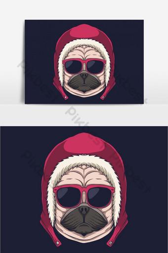 Ilustración de vector de anteojos de cabeza de perro Pug Elementos graficos Modelo EPS