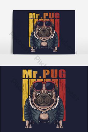 Ilustración de vector fresco de perro Pug Elementos graficos Modelo EPS
