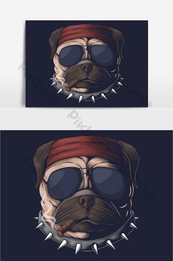 Ilustración de vector de humo de cabeza de perro Pug Elementos graficos Modelo EPS